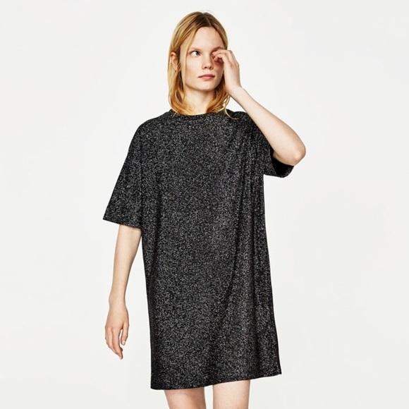 Black Silver glitter sparkle t-shirt dress. M 5a47f2aca44dbe1cc816812a ad9926861